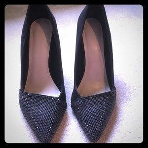 Aldo black suede and sequined heels